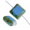 Fire polished 15x15mm Cut Square Blue Turquoise Marble Edge